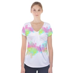 Abstract Color Pattern Colorful Short Sleeve Front Detail Top