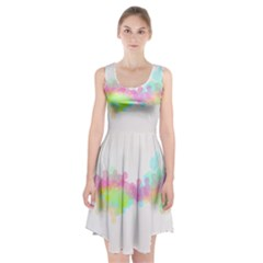 Abstract Color Pattern Colorful Racerback Midi Dress