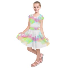 Abstract Color Pattern Colorful Kids  Short Sleeve Dress