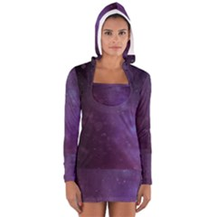 Abstract Purple Pattern Background Women s Long Sleeve Hooded T-shirt