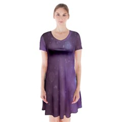 Abstract Purple Pattern Background Short Sleeve V Neck Flare Dress