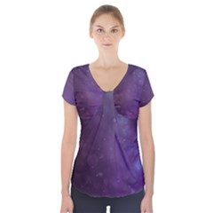 Abstract Purple Pattern Background Short Sleeve Front Detail Top