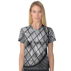 Architecture Roof Structure Modern Women s V-Neck Sport Mesh Tee