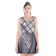 Architecture Roof Structure Modern Scoop Neck Skater Dress