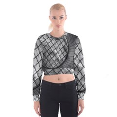 Architecture Roof Structure Modern Women s Cropped Sweatshirt