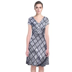 Architecture Roof Structure Modern Short Sleeve Front Wrap Dress