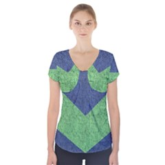 Arrow Texture Background Pattern Short Sleeve Front Detail Top