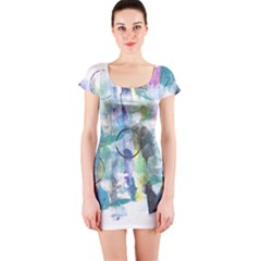Background Color Circle Pattern Short Sleeve Bodycon Dress