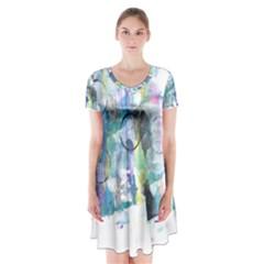 Background Color Circle Pattern Short Sleeve V-neck Flare Dress