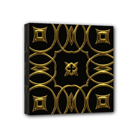 Black And Gold Pattern Elegant Geometric Design Mini Canvas 4  x 4