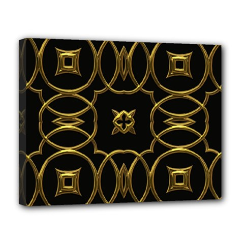 Black And Gold Pattern Elegant Geometric Design Canvas 14  x 11