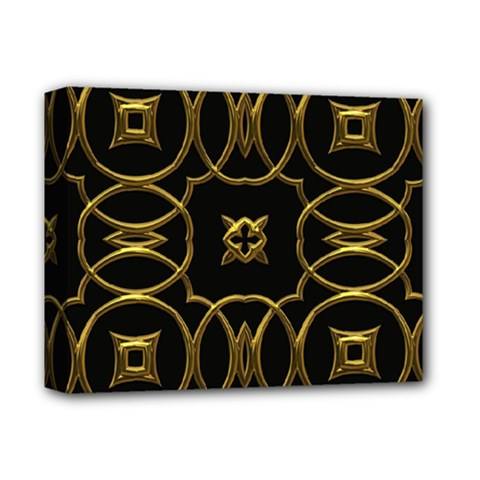 Black And Gold Pattern Elegant Geometric Design Deluxe Canvas 14  x 11