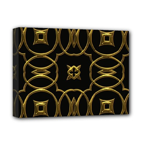 Black And Gold Pattern Elegant Geometric Design Deluxe Canvas 16  x 12