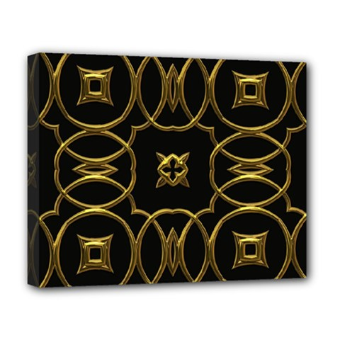 Black And Gold Pattern Elegant Geometric Design Deluxe Canvas 20  x 16
