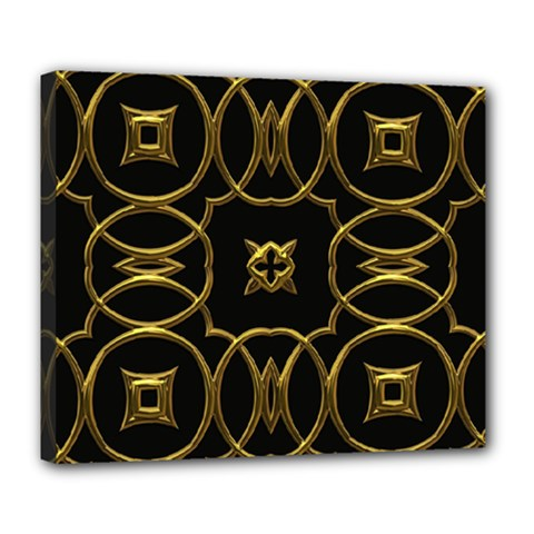 Black And Gold Pattern Elegant Geometric Design Deluxe Canvas 24  x 20