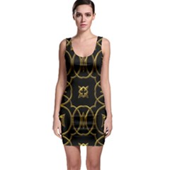 Black And Gold Pattern Elegant Geometric Design Sleeveless Bodycon Dress