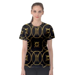 Black And Gold Pattern Elegant Geometric Design Women s Sport Mesh Tee