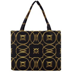 Black And Gold Pattern Elegant Geometric Design Mini Tote Bag