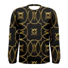 Black And Gold Pattern Elegant Geometric Design Men s Long Sleeve Tee