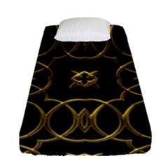 Black And Gold Pattern Elegant Geometric Design Fitted Sheet (Single Size)