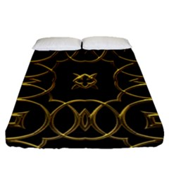Black And Gold Pattern Elegant Geometric Design Fitted Sheet (Queen Size)