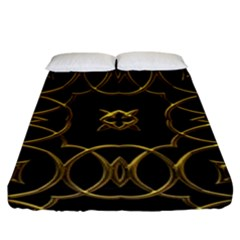 Black And Gold Pattern Elegant Geometric Design Fitted Sheet (King Size)