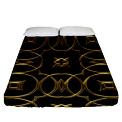 Black And Gold Pattern Elegant Geometric Design Fitted Sheet (California King Size)