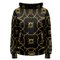 Black And Gold Pattern Elegant Geometric Design Women s Pullover Hoodie