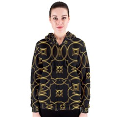Black And Gold Pattern Elegant Geometric Design Women s Zipper Hoodie