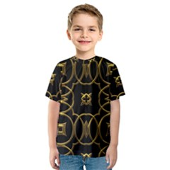 Black And Gold Pattern Elegant Geometric Design Kids  Sport Mesh Tee
