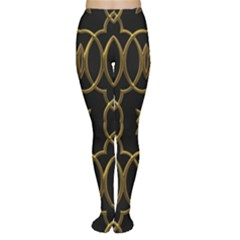 Black And Gold Pattern Elegant Geometric Design Women s Tights