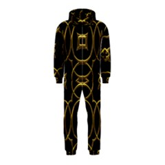 Black And Gold Pattern Elegant Geometric Design Hooded Jumpsuit (Kids)