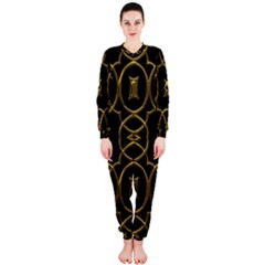 Black And Gold Pattern Elegant Geometric Design OnePiece Jumpsuit (Ladies)