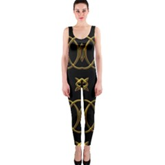 Black And Gold Pattern Elegant Geometric Design OnePiece Catsuit