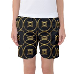 Black And Gold Pattern Elegant Geometric Design Women s Basketball Shorts