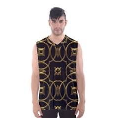 Black And Gold Pattern Elegant Geometric Design Men s Basketball Tank Top