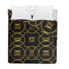 Black And Gold Pattern Elegant Geometric Design Duvet Cover Double Side (Full/ Double Size)