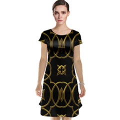 Black And Gold Pattern Elegant Geometric Design Cap Sleeve Nightdress