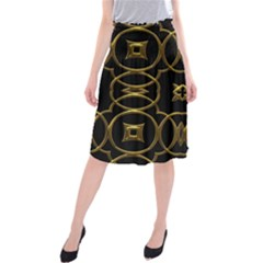 Black And Gold Pattern Elegant Geometric Design Midi Beach Skirt