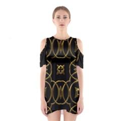 Black And Gold Pattern Elegant Geometric Design Shoulder Cutout One Piece