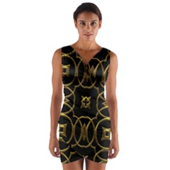 Black And Gold Pattern Elegant Geometric Design Wrap Front Bodycon Dress