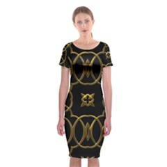 Black And Gold Pattern Elegant Geometric Design Classic Short Sleeve Midi Dress