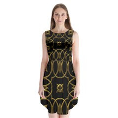 Black And Gold Pattern Elegant Geometric Design Sleeveless Chiffon Dress