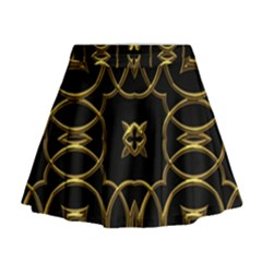 Black And Gold Pattern Elegant Geometric Design Mini Flare Skirt