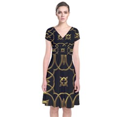 Black And Gold Pattern Elegant Geometric Design Short Sleeve Front Wrap Dress