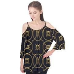Black And Gold Pattern Elegant Geometric Design Flutter Tees