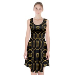 Black And Gold Pattern Elegant Geometric Design Racerback Midi Dress