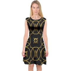 Black And Gold Pattern Elegant Geometric Design Capsleeve Midi Dress