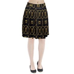 Black And Gold Pattern Elegant Geometric Design Pleated Skirt