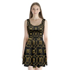 Black And Gold Pattern Elegant Geometric Design Split Back Mini Dress